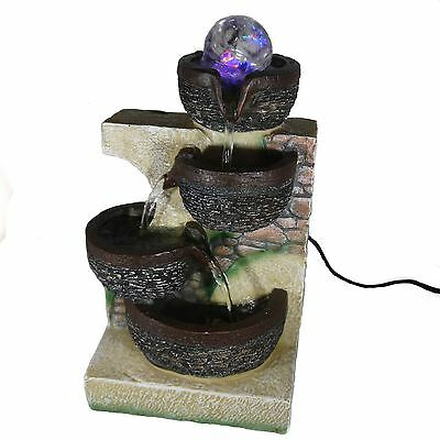 Cascading Indoor Table Top Water Feature with Spinning Ball & LED Lighting