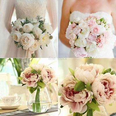 Artificial Fake Bouquet Peony Silk Bunch Flower 5Head Wedding Home Garden Decor