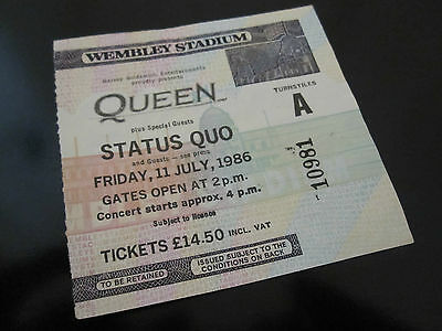 QUEEN  :  Wembley 1986 Concert Ticket Stub - UK Magic Tour - Freddie Mercury