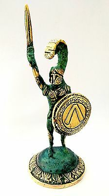 Ancient Greek Bronze Museum Statue Replica of Leonidas With Sword & Shield 300