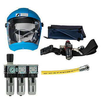 Anest Iwata Air Fed Mask + 3 Stage Filter & Breathing Air Hose Package
