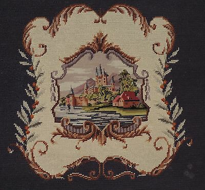 "Antique Needlepoint Tapestry 22""x28"" Castle Scene for Framing or Chair Seat"