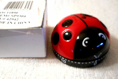 LADYBUG KITCHEN 60 Minute TIMER COOKING Wind Up CLOCK with BOX #23