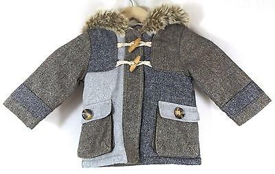 Next Girls Hooded Coat  Brown With Glitter Effect Size 12 - 18 Months Used