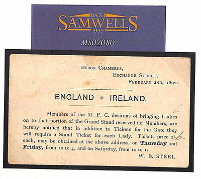 MS2080 1892 HOME NATIONS RUGBY FOOTBALL Postal Stationery Historic Re *Ladies*