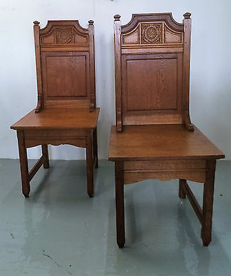 Antique Arts & Crafts Oak Church Altar Chairs - Carved Burning Bush, Pair.