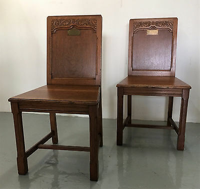 Pair Of Antique Oak Church Altar /hall Chairs - Well Carved, Arts & Crafts.