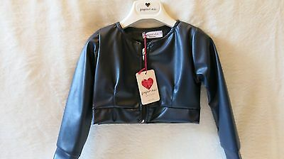 Peperina Girls Designer Occasion Jacket, Blue, Faux Leather, 4 Years , Brand New
