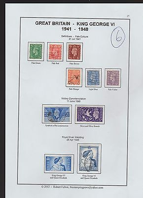 Great Britain  Page From An Old Album  1941 /48 Values To 1 Pound  (6)