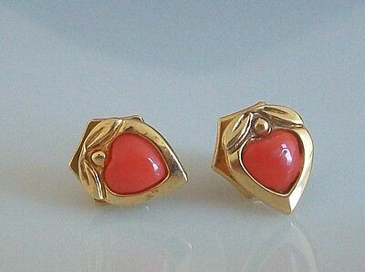 Fine 18ct / 18k 750 gold and coral earrings