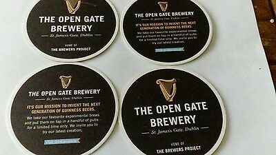 GUINNESS OPEN THE GATE BREWERY BEER MATS FOUR New.