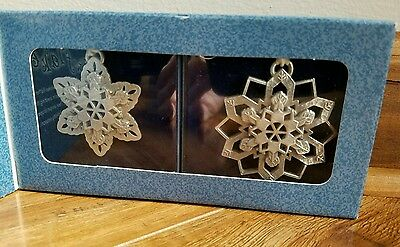 Longaberger Snowflakes ~ set of 2 pewter ornaments ~NEW~