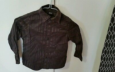 Boys Brown smart party formal strip Shirt 3 years old