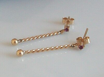 Fine 9ct / 9k 375 gold and ruby earrings