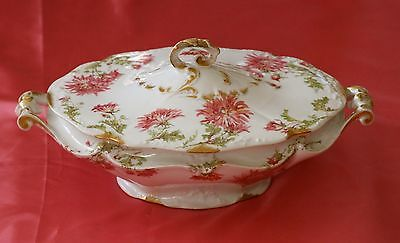 OLD FRENCH LIMOGES Covered Vegetable Dish Large PINK  Mums GOLD