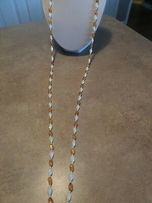 Vintage Flapper Style Amber and Cream Plastic Necklace