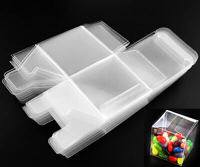 25 x Square Transparent Clear Cube Favour Boxes Sweet Candy Cake Gift Chiristmas