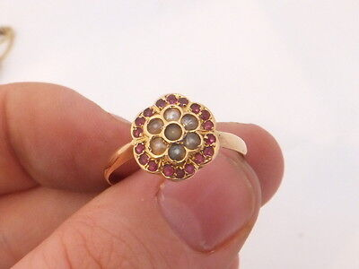 Fine victorian 18ct/18k/18carat/750 rose gold ruby seed pearl cluster ring