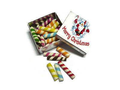 Square Tin with Candy Dollhouse Miniature Food Bakery Holiday Gift Christmas