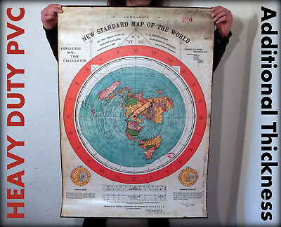 HEAVY DUTY FLAT EARTH PVC POSTER: 'Gleasons New Standard Map Of The World 1892'