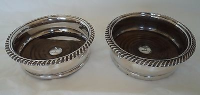 Pair Antique Victorian Bagshawe Family Crest Silver Plate Wine / Bottle Coasters