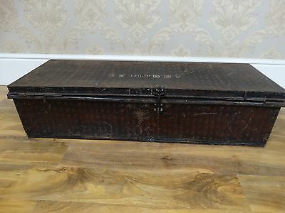 super trendy antique XL painted tin storage trunk, coffee table, blanket chest