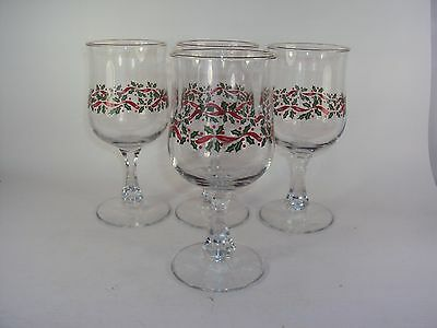 4 Libbey Arby's Christmas Holly Berry Red Ribbon Tulip Goblets
