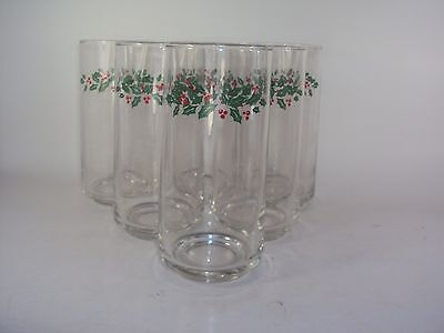 Set of 6 Corelle Christmas Winter Holly Days Glass Tumblers Berries Berry