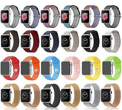Genuine Nylon/Leather Loop/Milanese Magnetic/Silicone Strap Band for Apple Watch