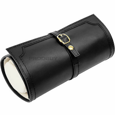 Black Faux Leather Jewellery Travel Case Necklace Wrap Roll Organiser Xmas Gift