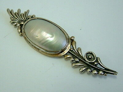Large Silver Mabe Pearl Brooch