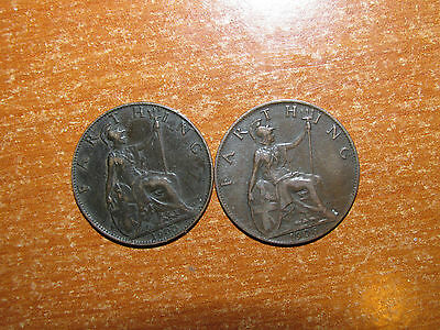 GB England 1900 and 1906 Farthing coin lot Very Fine nice