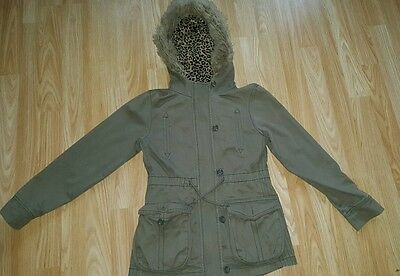 Girls Next Khaki Parker  Faux Fur hooded Coat aged 9-10 years Fleece lined