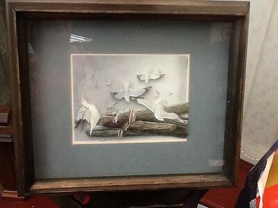 Original Framed Picture Of Seagulls From Rock IsandMaine Hand Made 3D  25cmx21cm
