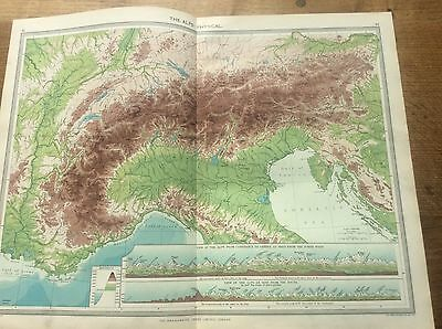 Antique 1904 colour Map The Alps Physical Harmsworth Universal ATLAS