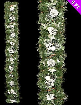 6ft Green Tinsel Garland Silver Holly Berry Pine Cone Christmas Decoration