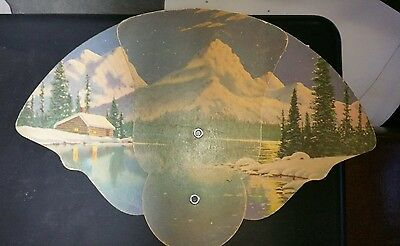 Antique Cardboard Fold out fan Fisher and Umbaugh Funeral home Cambridge  City I