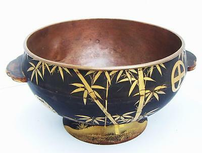 Antique Japanese laquered wood bowl  gold decoration copper lined