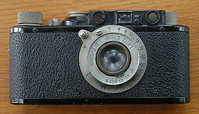Black Leica II 35mm Rangefinder Camera with Leitz Elmar 50mm f3.5 Lens and Case