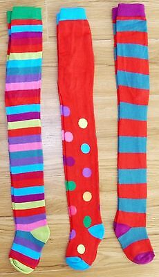 Bnwot Next Girls Winter Tights 2-3 3-4 Yrs New Christmas Party Star Red Stripe