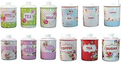 Shabby Chic Tea Coffee Sugar Canisters Jars Floral Kitchen Storage Vintage Style