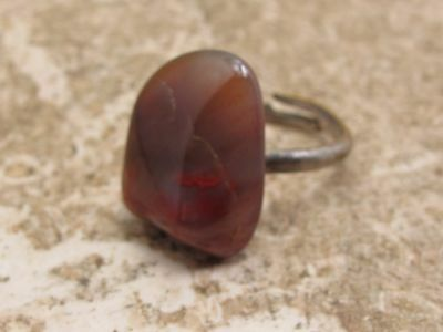 Vintage Scottish Agate Set Ring See Photo For Size