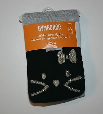 New Gymboree Catastic Line Tights Size 10-12 Year NWT Black Glitter Cat Face