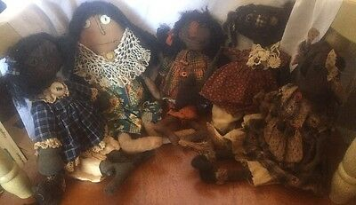 Primitive Raggedy Ann Black Doll Lot Of 5 Hand Crafted Ornie Folk Art Ooak