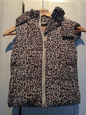 Girls s/less animal print padded gilet size 7 years