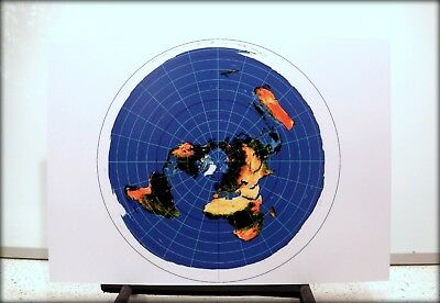 FLAT EARTH Azimuthal Equidistant Polar Projection USGS World Map, 350gsm A3 size
