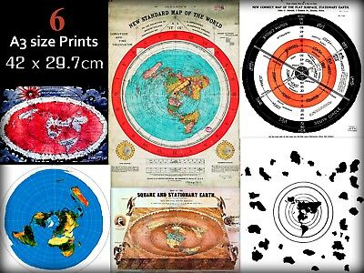 Bundle of 6 Flat Earth Maps & Poster Prints - Gleasons Map etc (350gsm) A3 size