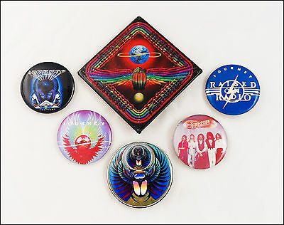 Journey Lot Of 6 80's Buttons Pins Infinity / Frontiers / Departure / Evolution