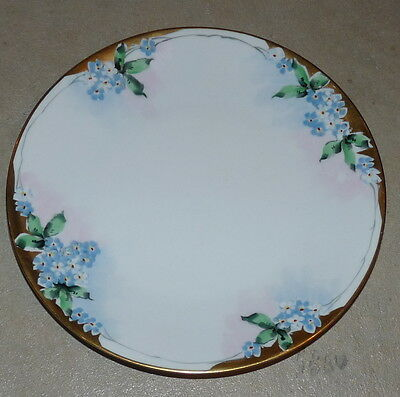 Handpainted Plate With Forget-Me-Nots