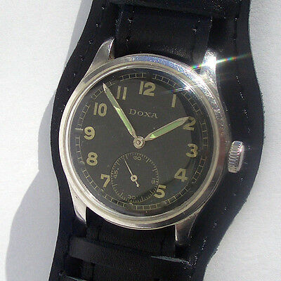 Rare Military Watch German Army DOXA DH of period WWII in Steel Case